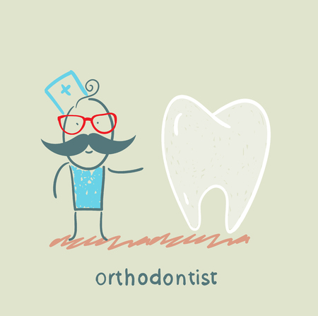 instrument practice: orthodontist is with great teeth