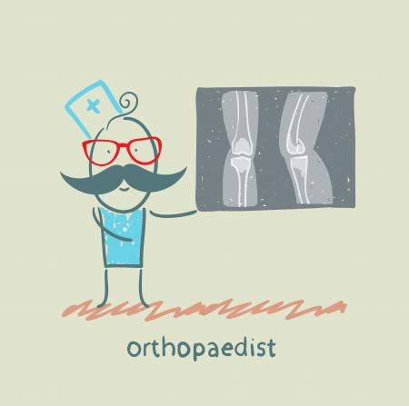 masseur: orthopaedist shows an X-ray