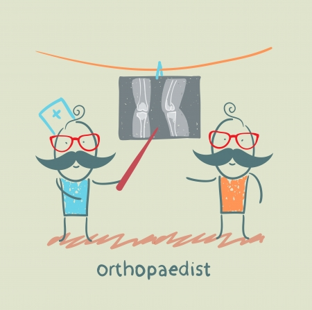preassure: orthopaedist patient shows an X-ray Illustration