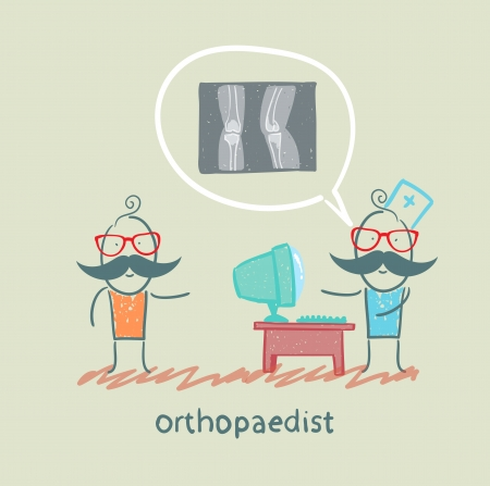 masseur: orthopaedist tells the patient about an x-ray