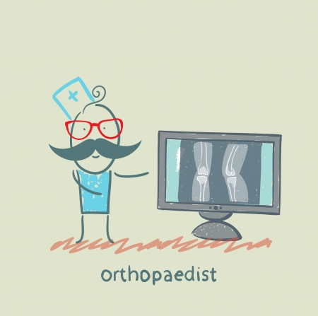 preassure: orthopaedist on the monitor shows an X-ray Illustration