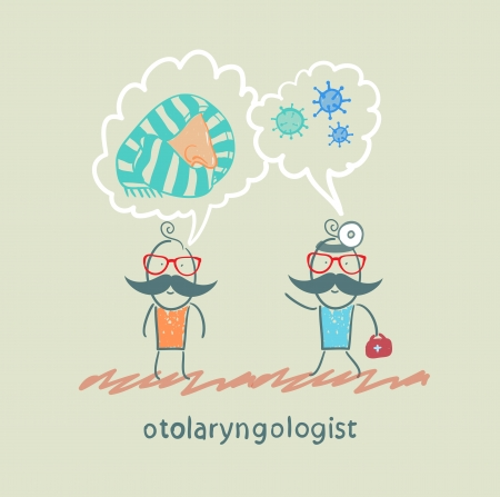 otolaryngologist says about bacteria and nose with a patient Stock Vector - 22372907