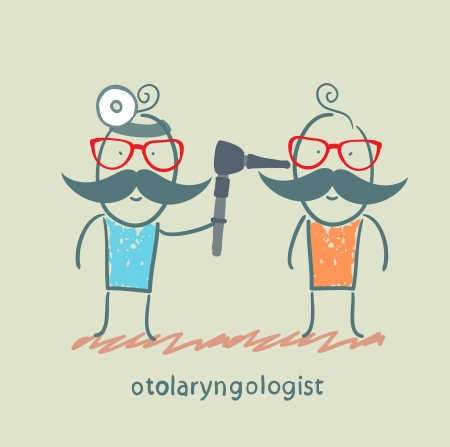 see a doctor: otolaryngologist examines the patients ear