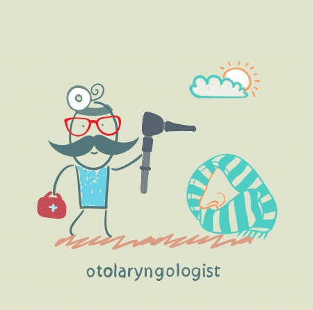 otolaryngologist came to treat the patient's nose Stock Vector - 22373167