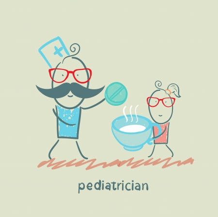 pediatrician: pediatrician gives the tablet in a cup of baby Illustration