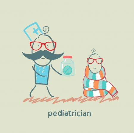 pediatrician giving medicine to a child Stock Vector - 22373171