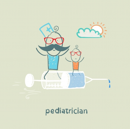 pediatrician: pediatrician is flying on a syringe with a sick child Illustration