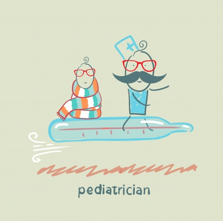pediatrician: pediatrician is flying on a thermometer with a sick child Illustration