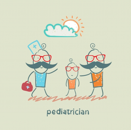 pediatrician: pediatrician takes dad with a sick child