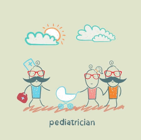 pediatrician came to the sick child in the stroller parents Vector