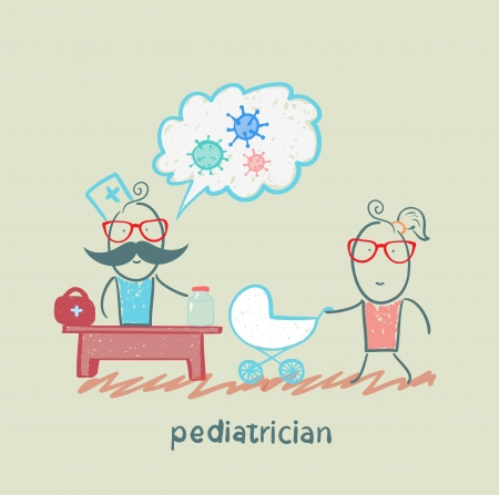 pediatrician at work listening to her mother with a baby in a stroller Vector