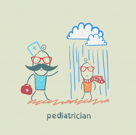 pediatrician: pediatrician talking to a sick child in the rain Illustration