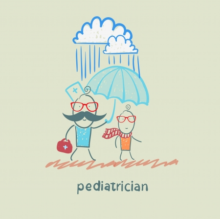 pediatrician: pediatrician holding an umbrella over the child in the rain