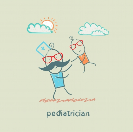 bush babies: pediatrician playing with child Illustration
