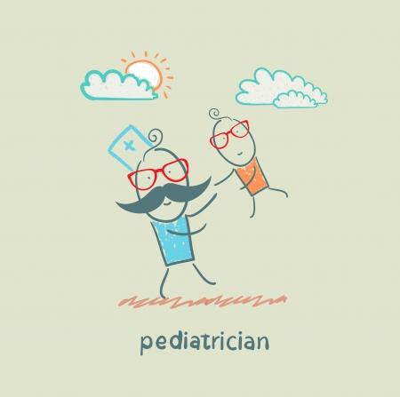 pediatrician playing with child Illusztráció