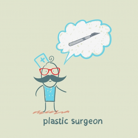 plastic surgeon surgeon thinks of a scalpel Stock Vector - 22373196