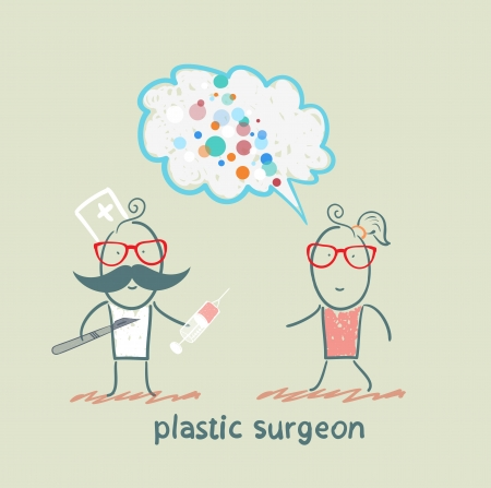 plastic surgeon holding a scalpel and syringe and listens to the patient Stock Vector - 22373198