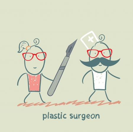plastic surgeon escapes from the patient with a scalpel Stock Vector - 22373200