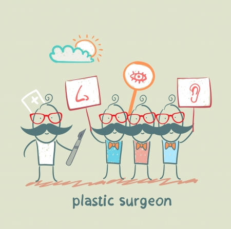 plastic surgeon  looks at people with placards which painted the nose, ear, eye Stock Vector - 22373201