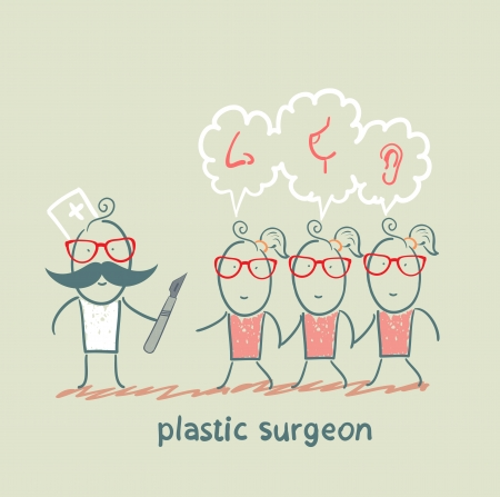 plastic surgeon patients and listens to their wishes Vector