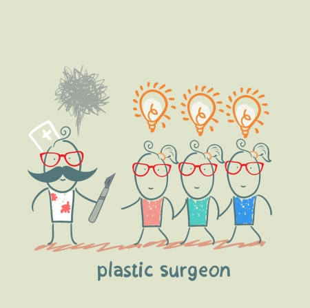 plastic surgeon holding a scalpel and looks at patients with ideas Stock Vector - 22373203