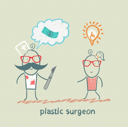 plastic surgeon thinks about money and listening to the patient Stock Vector - 22373204