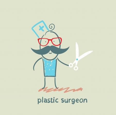 plastic surgeon with scissors Stock Vector - 22373206