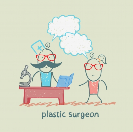 plastic surgeon t work talking to a patient Stock Vector - 22373209