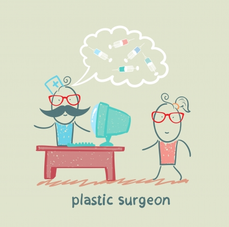 plastic surgeon at the computer says about the operation with the patient Stock Vector - 22373211