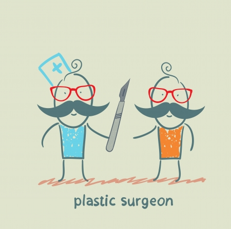 plastic surgeon with a scalpel is close to the patient Stock Vector - 22373212