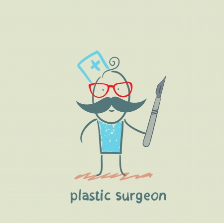 plastic surgeon with a scalpel Vectores