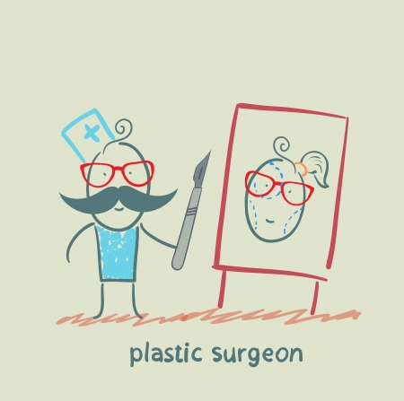 plastic surgeon with a scalpel gives a presentation about facial surgery Vector