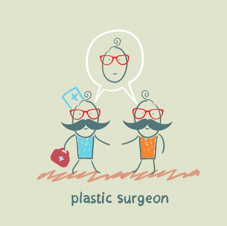 plastic surgeon says to the patient's facial surgery Stock Vector - 22373215