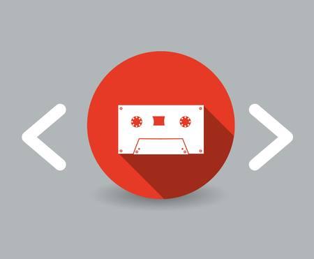 flat design cassette icon Vector