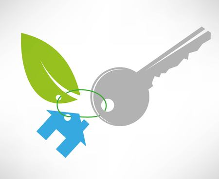 The key to the eco house icon Stock Vector - 22660667