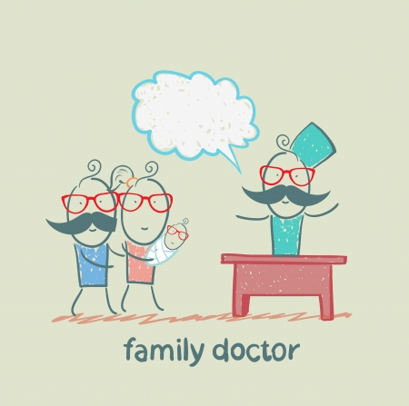 family doctor treats the mother, father and child Vector Illustration