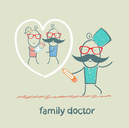 family doctor draws a heart around the family Vector