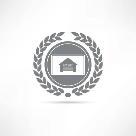 brokers: House for sale icon Illustration