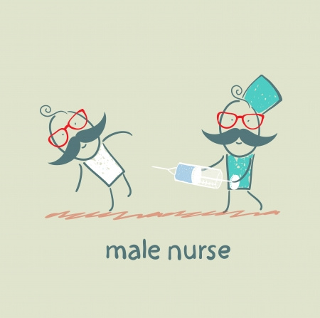 male nurse make an injection syringe ill patient Ilustrace