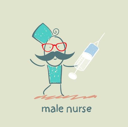 mannelijke verpleegkundige met een spuit Stock Illustratie
