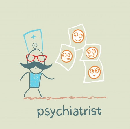 demented: psychiatrist studying photos of demented patients Illustration