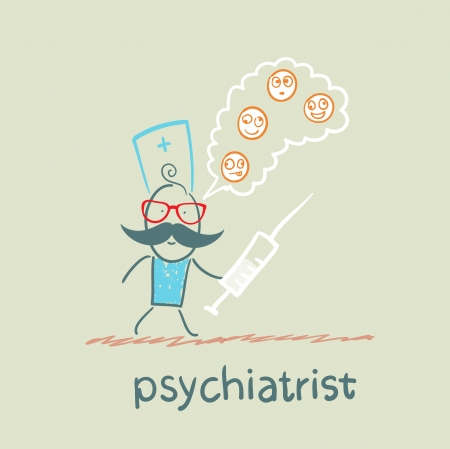 demented: psychiatrist with a syringe thinks of demented patients Illustration