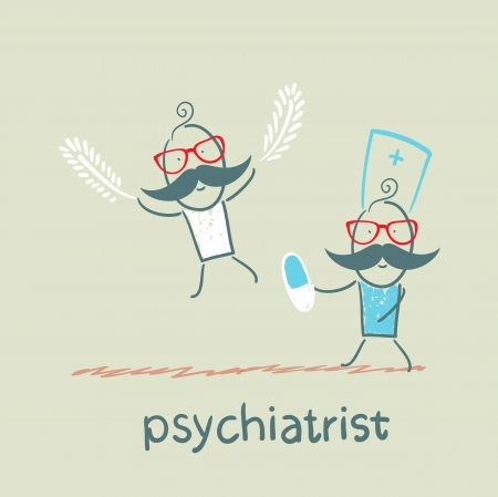 psychiatrist: psychiatrist gives a pill to a patient who takes off with feathers