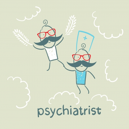 psychiatrist: psychiatrist with patient flies in the sky Illustration