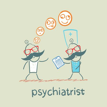 career counseling: psychiatrist says a patients illness Illustration
