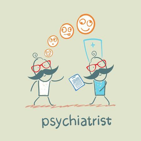 psychiatrist: psychiatrist says a patients illness Illustration