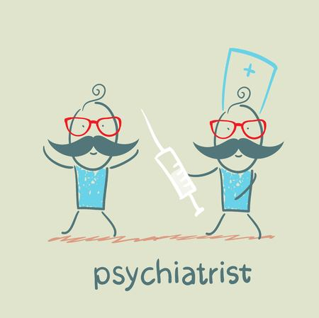 psychiatrist: Psychiatrist catches up with the syringe for patient