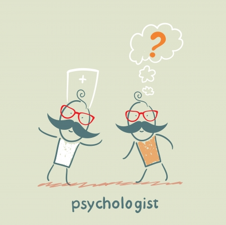 psychologist: Psychologist talking to a patient who thinks of a question mark