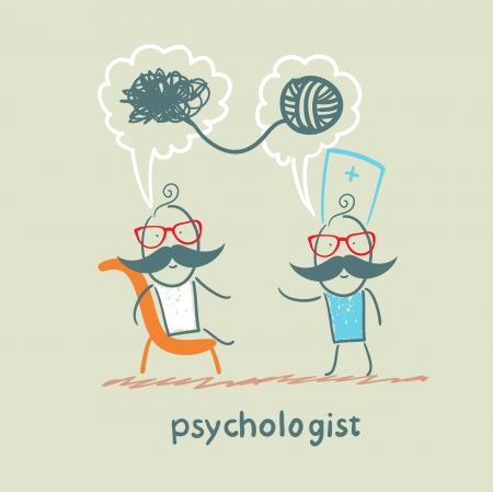 mental work: psychologist says to the patient, and solves problems Illustration
