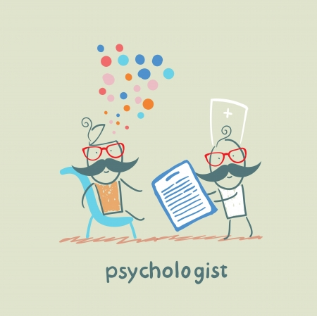 psychologist with a folder, and the patients head exploded Illustration